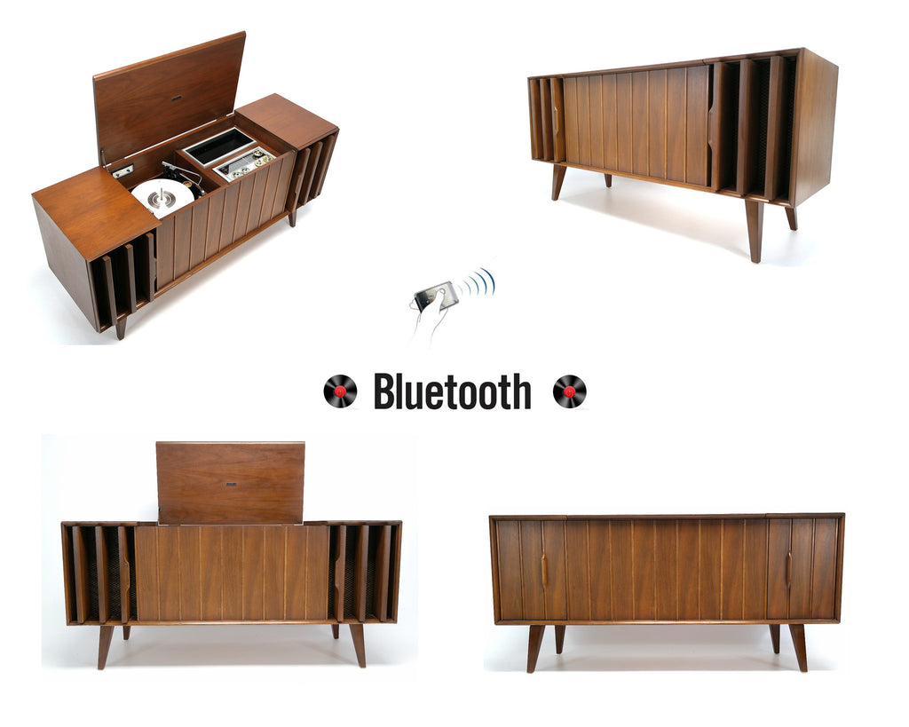 MCM STEREO - 60's - Mid Century Console Record Player - Bluetooth iPod iPhone Android Input AM/FM Tuner