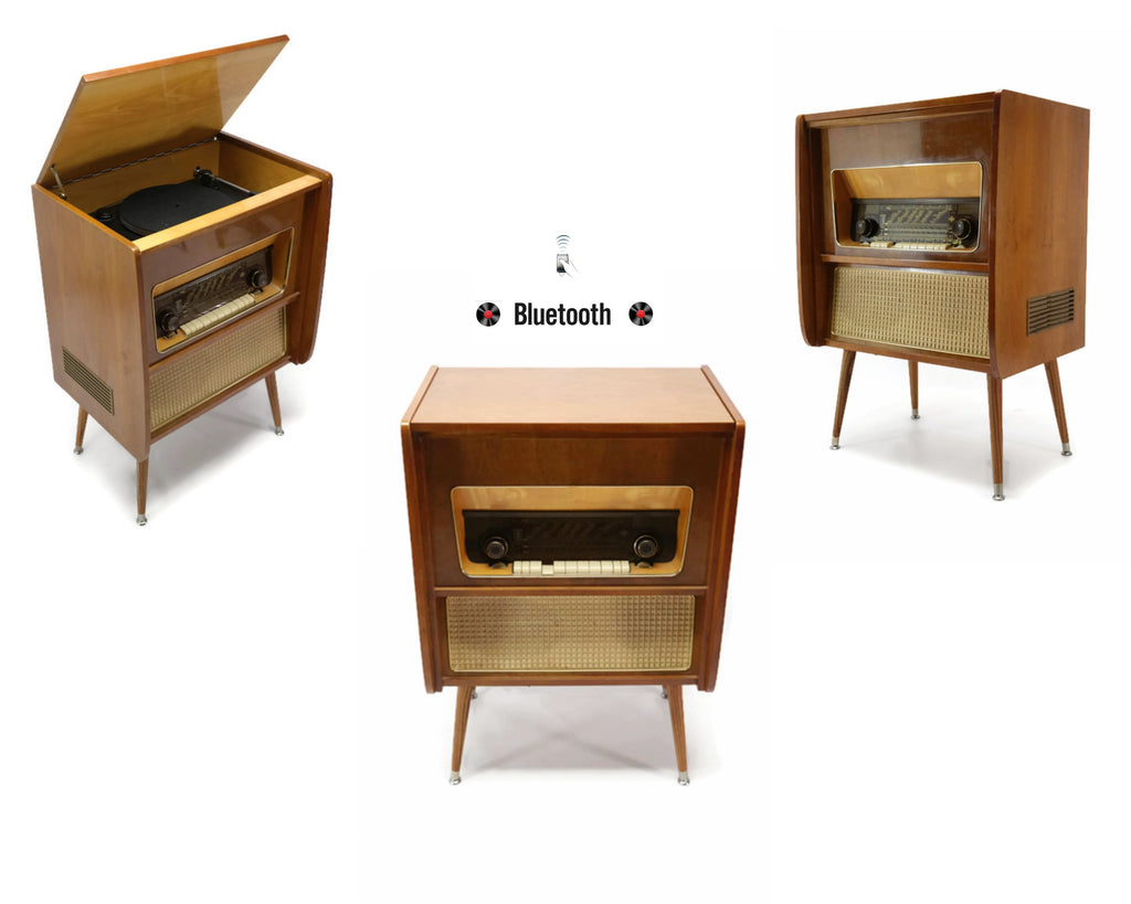 **SOLD OUT** The Vintedge Co™ - TURNTABLE READY SERIES™ - EMUD 50s 60s Modern Turntable Record Player HiFi Console