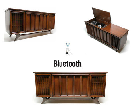 SOLD OUT*** - Mid Century Sylvania Stereo Console Record Player - Bluetooth iPod iPhone Android Input AM/FM Tuner