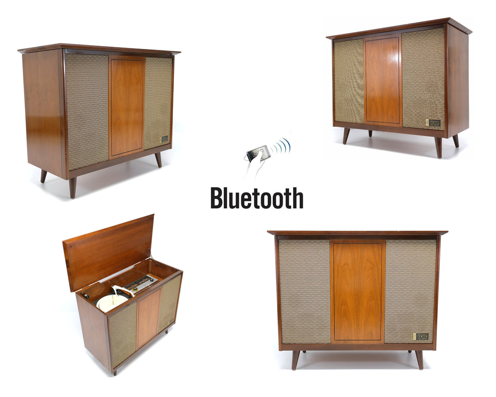 Mid Century Modern Zenith STEREO CONSOLE- 60's - Record Player - Bluetooth - AM FM Tuner