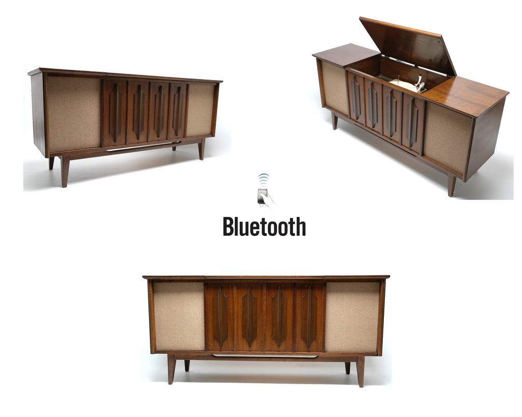 Mid Century Silvertone Stereo Console Record Player - Bluetooth iPod iPhone Android Input AM/FM Tuner