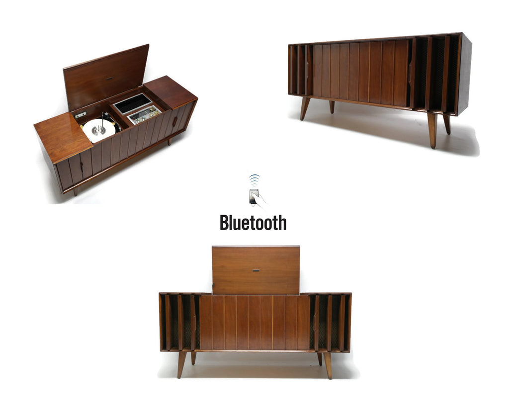 Zenith Stereo Console Louver doors Vintage Record Changer - AM/FM Tuner - Bluetooth