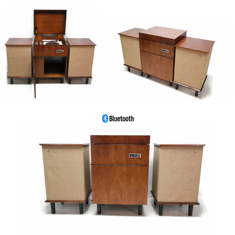 **NOW AVAILABLE**  VOICE OF MUSIC 3-Piece Mid Century Modern Stereo Console Record Player Changer AM FM Tuner w/Side Speakers - Bluetooth