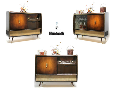 Mid Century Modern Blaupunkt Stereo Console  Built in Bar Record Changer - AM/FM- Tuner - Bluetooth -Shortwave