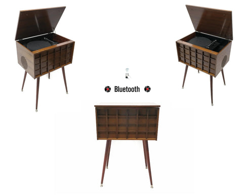 **SOLD OUT** The Vintedge Co™ - TURNTABLE READY SERIES™ - THE GRID Vintage Wood Stereo Cabinet w/Modern Turntable Record Player Stereo