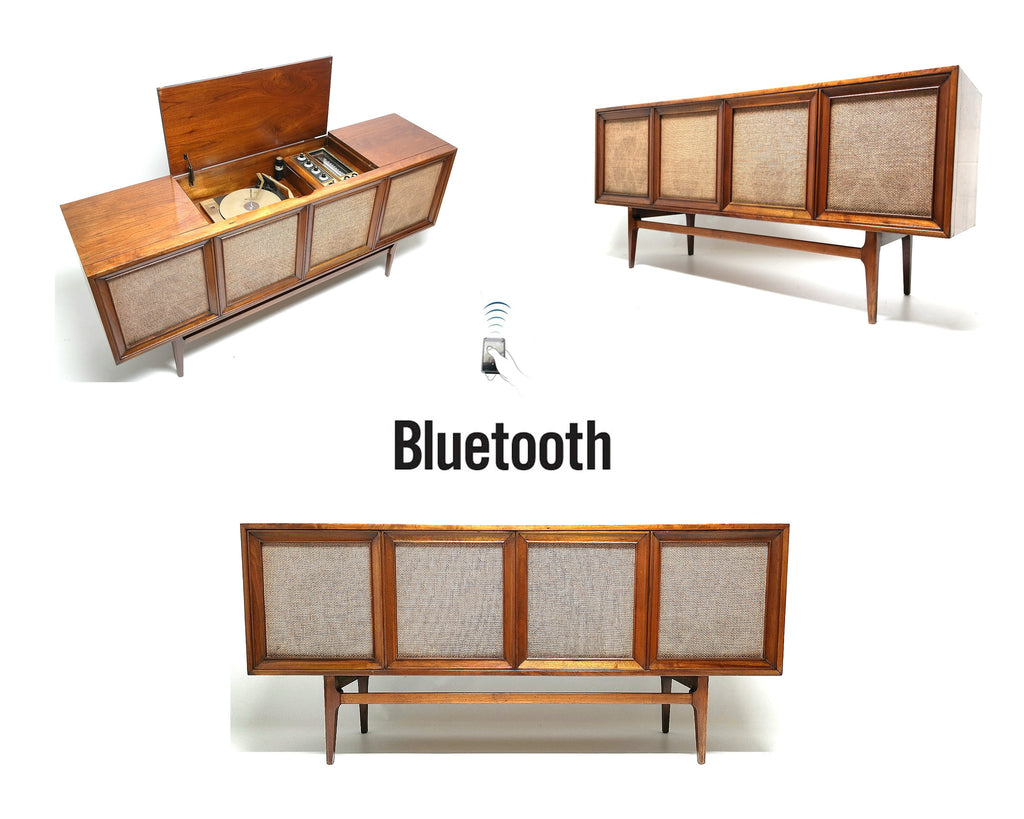 Mid Century Stereo Console  Westinghouse - Bluetooth -  FM Tuner - Record Changer FULLY RESTORED