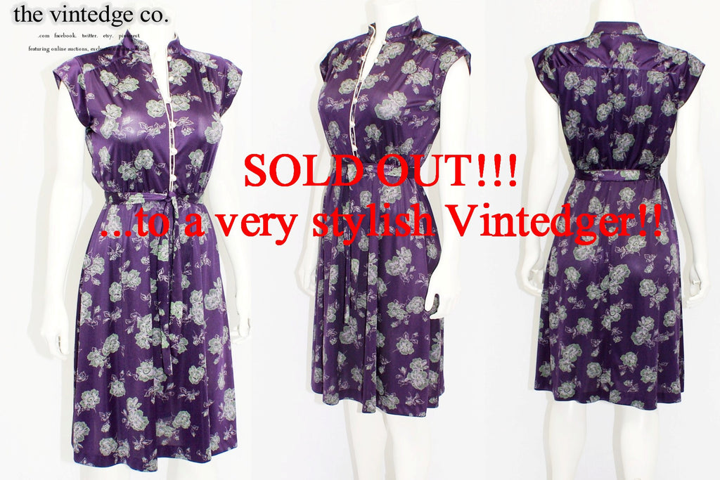 SOLD - 1980s Purple Floral Dress