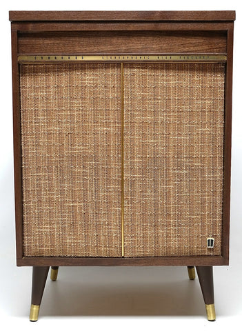 Mid Century Modern Stereo Cordnado Console Record Changer - Bluetooth - Tube Amplifer