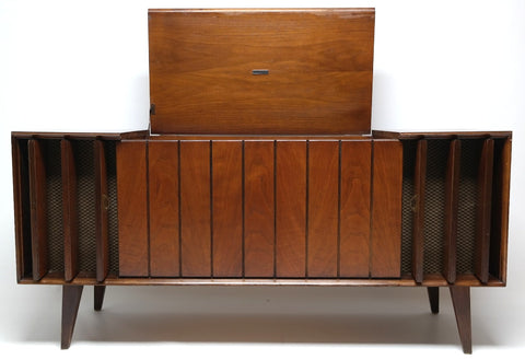 Mid Century Zenith Stereo Console louver doors Record Player Changer - Bluetooth -  AM/FM Tuner