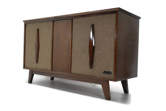 ... OUT** EMERSON Mid Century Modern Record Player Changer Stereo Console