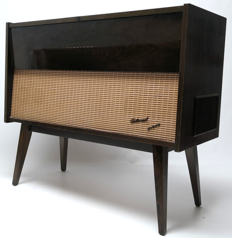 Mid Century Modern Stereo Console By Blaupunkt Record Changer - Bluetooth - AM/FM Tuner Tube amplifer