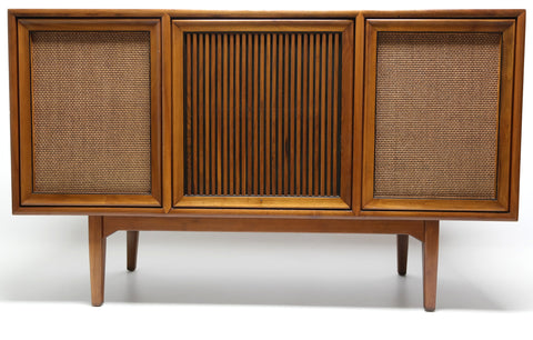 Mid Century Modern Stereo Console By Motorola Record Changer - AM/FM- Tuner - Bluetooth