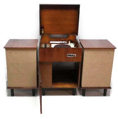 **SOLD OUT**  VOICE OF MUSIC 3-Piece Mid Century Modern Stereo Console Record Player Changer AM FM Tuner w/Side Speakers - Bluetooth