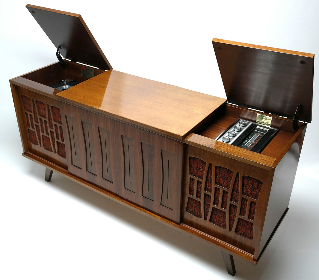 record player furniture hidden mid century morse console record player changer bluetooth amfm tuner modern stereo restore the