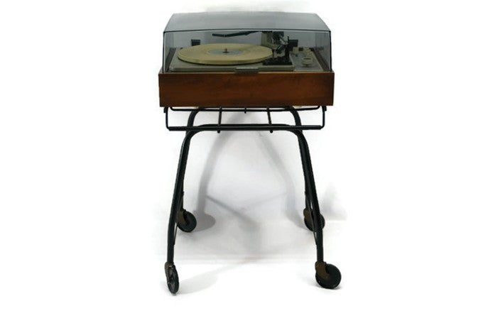 **SOLD OUT** - vintage black metal record player rolling stand holder