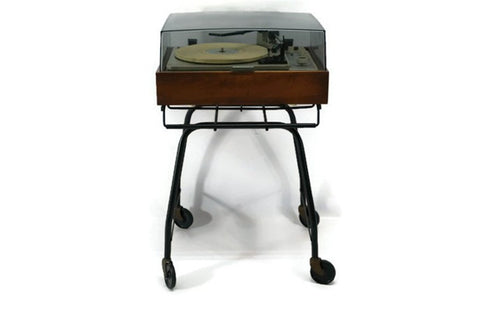 vintage black metal record player rolling stand holder