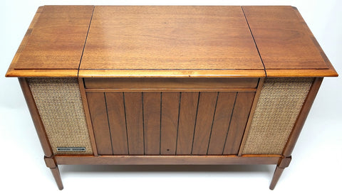 Mid Century Modern Stereo GE MINI Console Record Changer - AM/FM- Tuner - Bluetooth