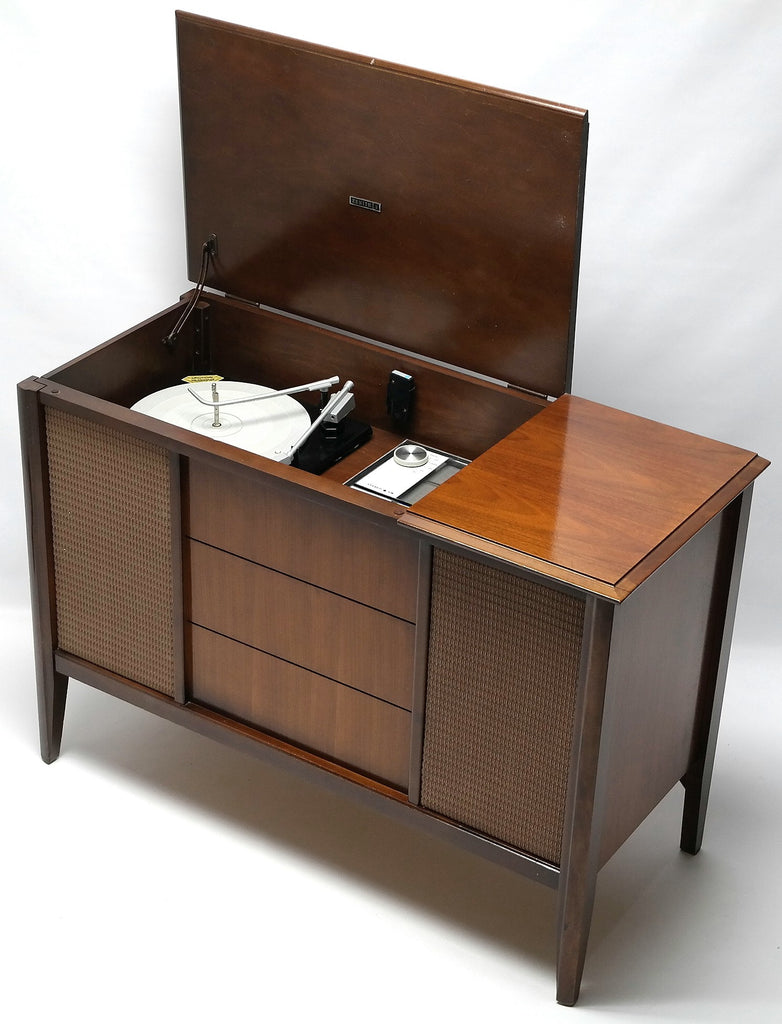 Zenith Mini Stereo Console Vintage Record Player with Record Changer ,  Bluetooth , Am / FM