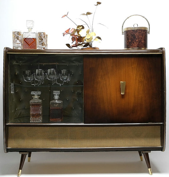 Mid Century Modern Stereo Console By Blaupunkt With Bar