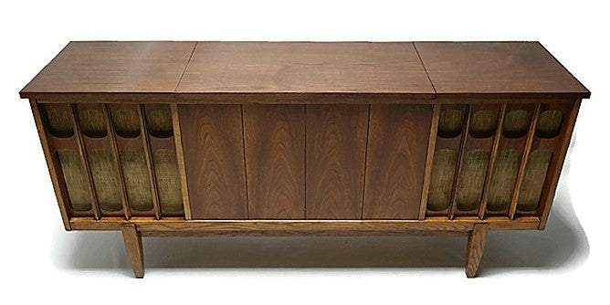 Mid Century Modern Silvertone Vintage Stereo Console Record Player Changer Am Fm Tuner