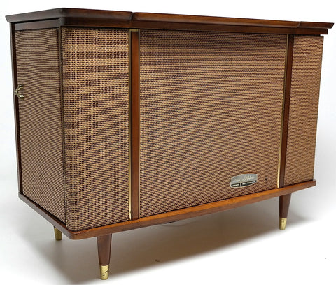 Mid Century Modern Stereo Symphonic Console Record Changer - AM/FM- Tuner - Bluetooth