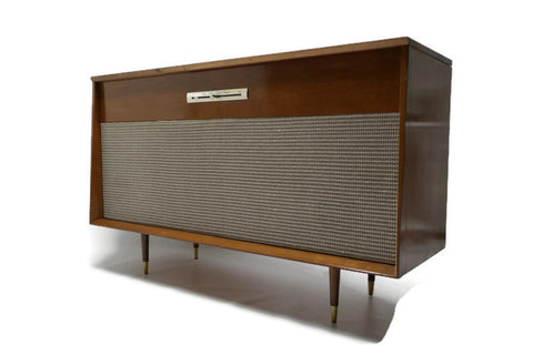 **AVAILABLE** VintedgeCo™ - TURNTABLE READY SERIES™ - Mid Century WEBCOR Vintage Stereo Console Wood Cabinet