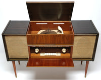 Mid Century Modern Grundig Majestic Stereo Console Record Changer - AM/FM - Bluetooth