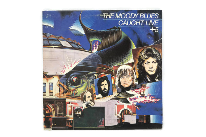 THE MOODY BLUES - Vintage Vinyl Record Album - CAUGHT LIVE +5