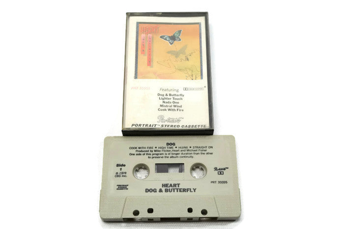 HEART - Vintage Cassette Tape - DOG AND BUTTERFLY