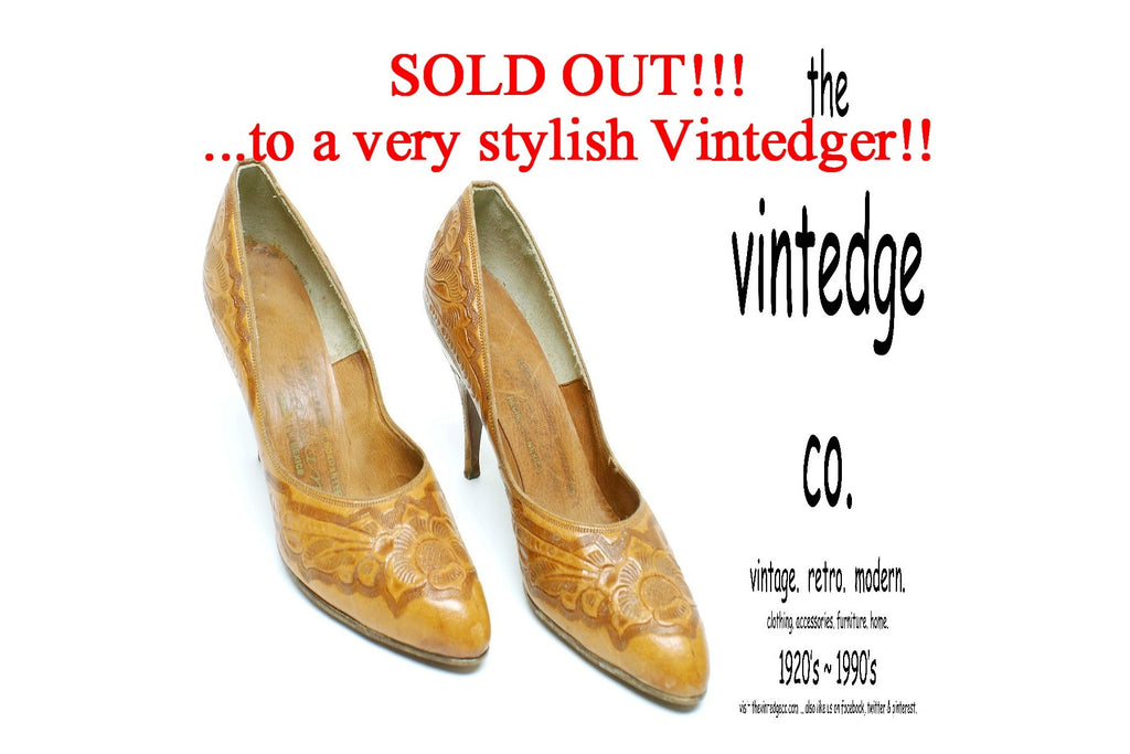 SOLD - 60s Vintage Tooled Leather Heels