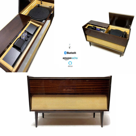 **NOW AVAILABLE** The Vintedge Co™ - TURNTABLE READY SERIES™ - GRUNDIG 50s 60s Modern Turntable Record Player Stereo Console Cabinet Bluetooh Alexa USB