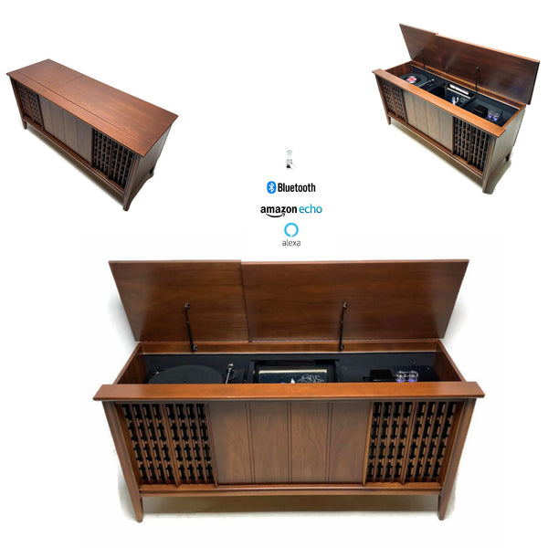 **SOLD OUT** The Vintedge Co™ - TURNTABLE READY SERIES™ - PHILLIP 50s 60s Modern Turntable Record Player Stereo Console Cabinet Bluetooth Alexa USB