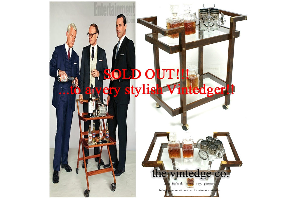 SOLD - MCM Brass Wood Bar Cart