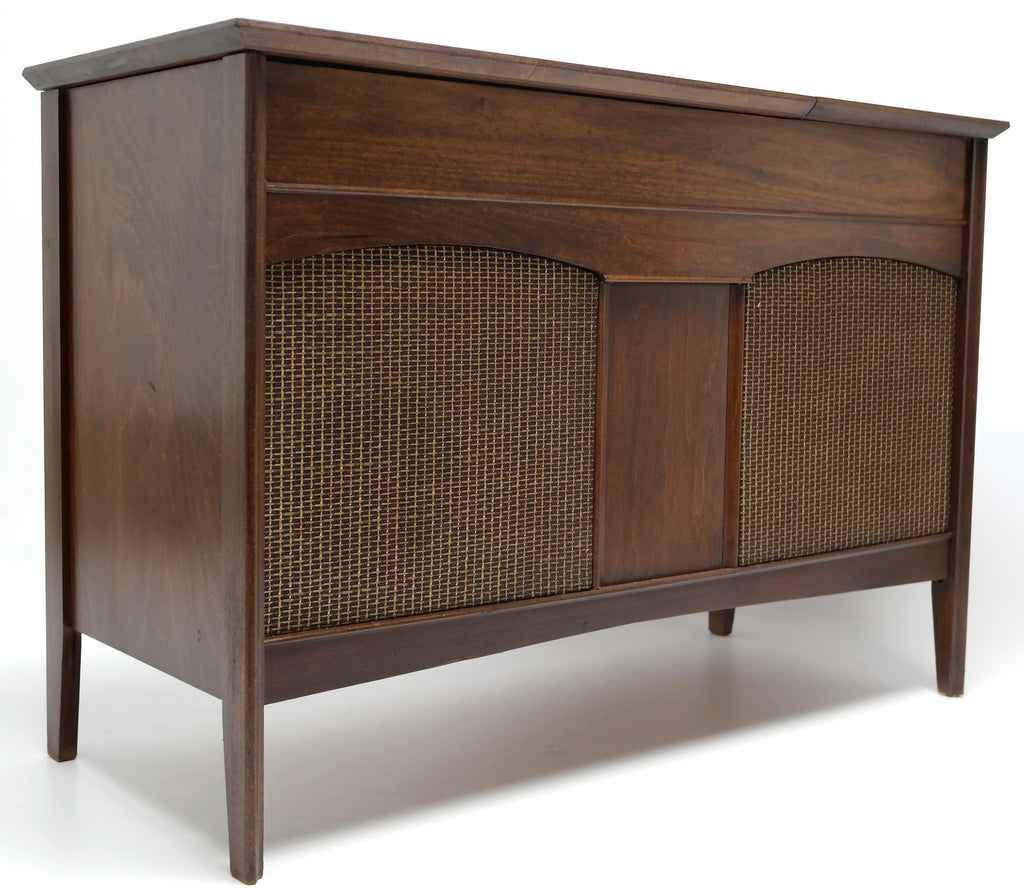 Mid Century Stereo Console+ Bluetooth Record Player + Tuner AM/FM Small Console Stereo