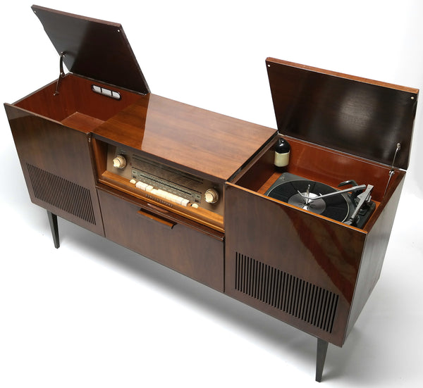 MCM - GERMAN Schaub Lorenz - Mid Century Console Record Player - Bluetooth  iPod iPhone Android Input AM/FM Tuner