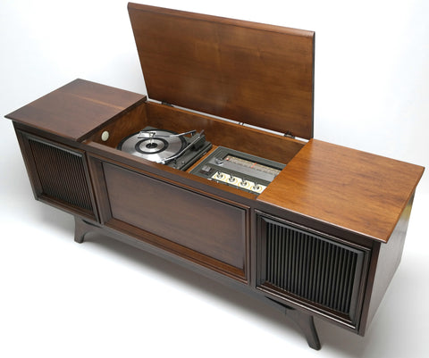 Mid Century Modern GE Stereo Console Record Player - AM / FM Tuner - Bluetooth