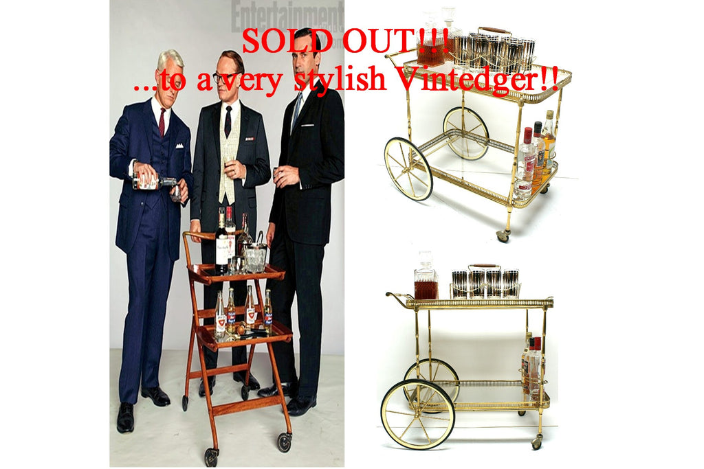SOLD - MCM Brass Bar Cart