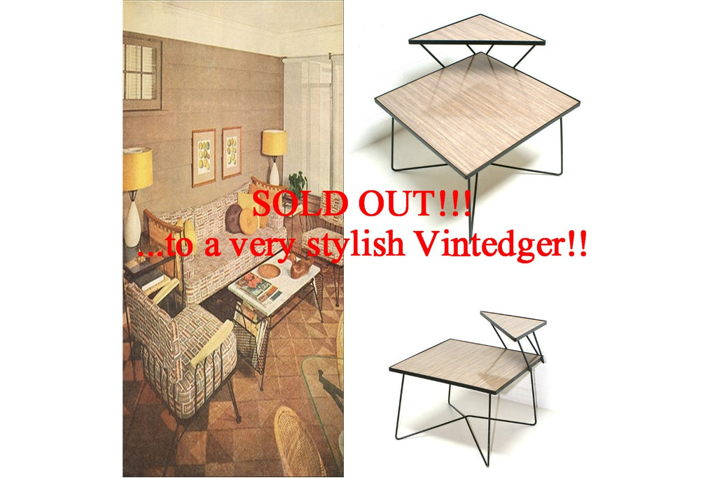 SOLD - Vintage Mid Century Hairpin Table