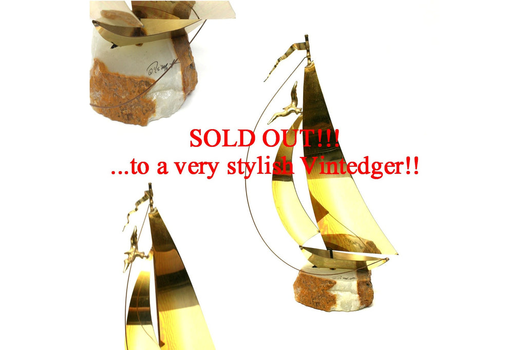 SOLD - MCM Brass Sailboat C.Jere