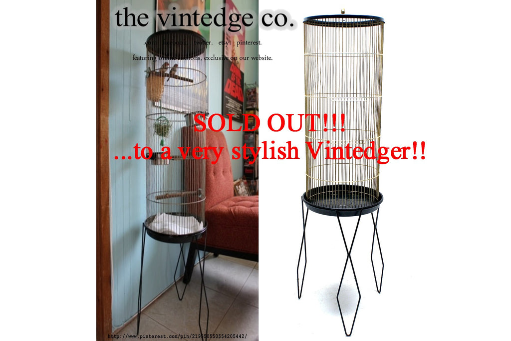 SOLD - Mid Century Metal Bird Cage