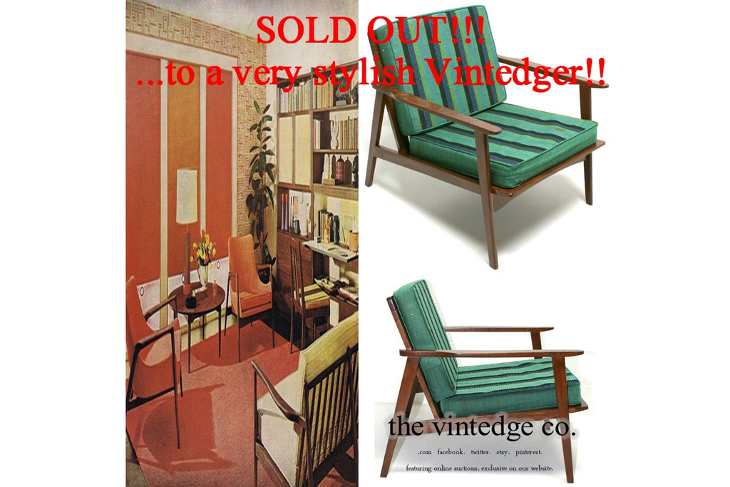 SOLD - 60's MCM Striped Lounge Chair