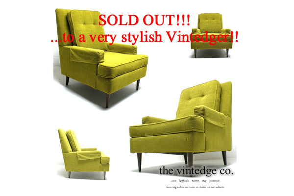 SOLD - 60's Mid Century Green Lounge Chair