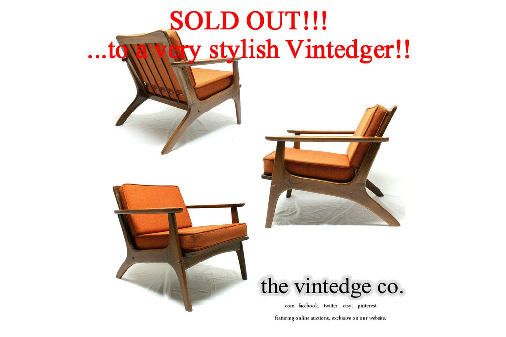 SOLD - 60's Mid Century Orange Lounge Chair