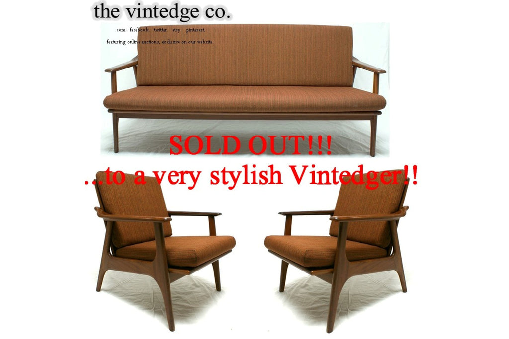 SOLD - 60's Mid Century Sofa Lounge Chair S/3