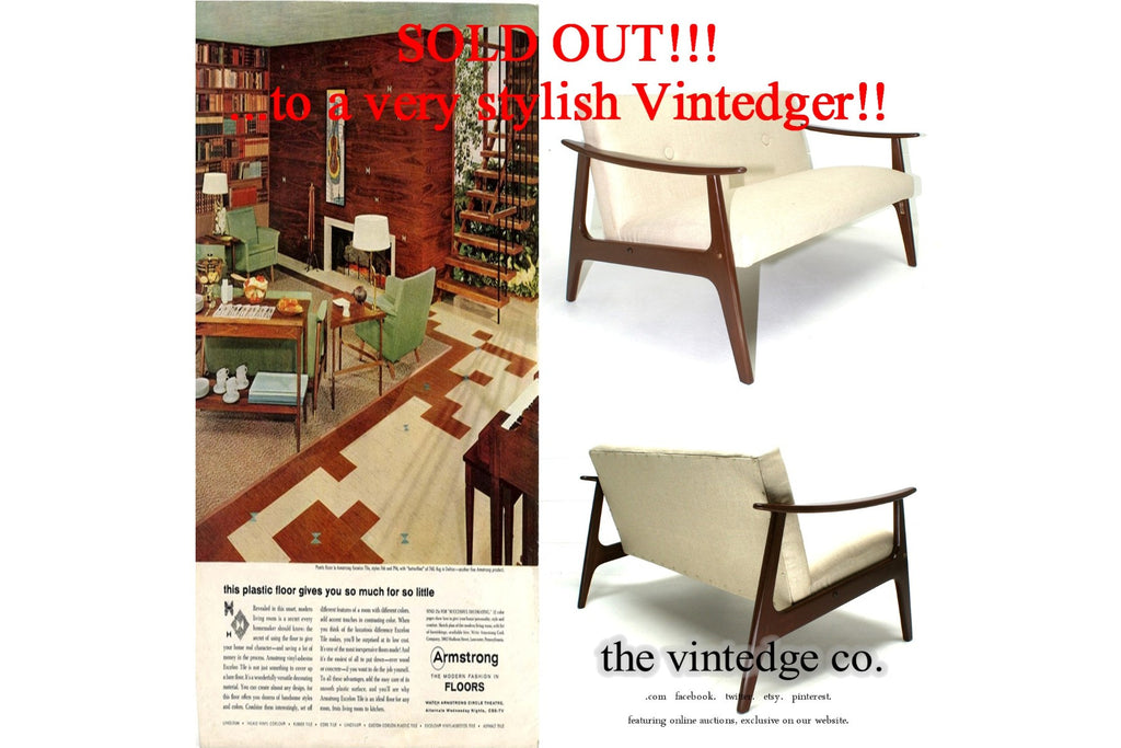SOLD - 60's Mid Century Loveseat Bench Chair