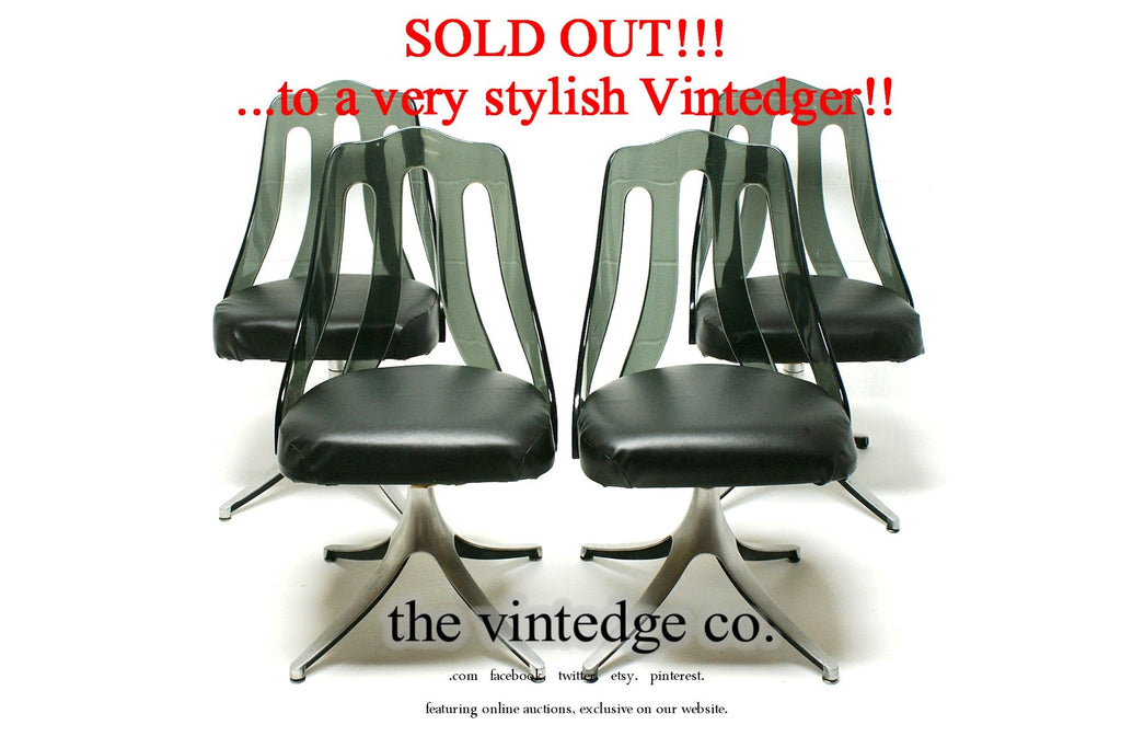 SOLD - 60's Lucite Metal Chairs S/4