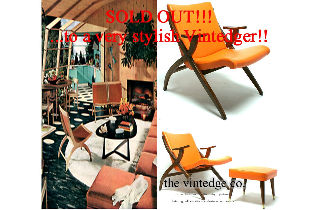 SOLD - 60's MCM Orange Lounge X Chair