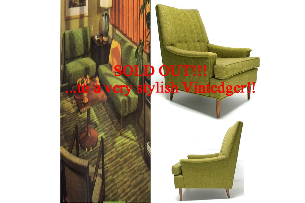SOLD - 60's MCM Green Sofa Chair