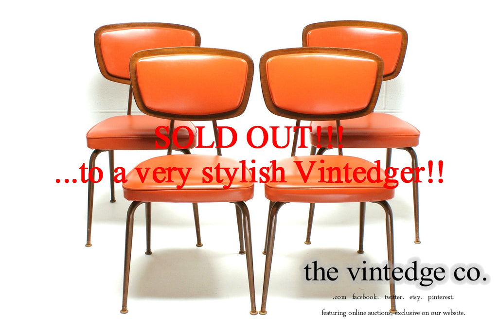 SOLD - 60's Danish Modern Orange Teak Chairs S/4