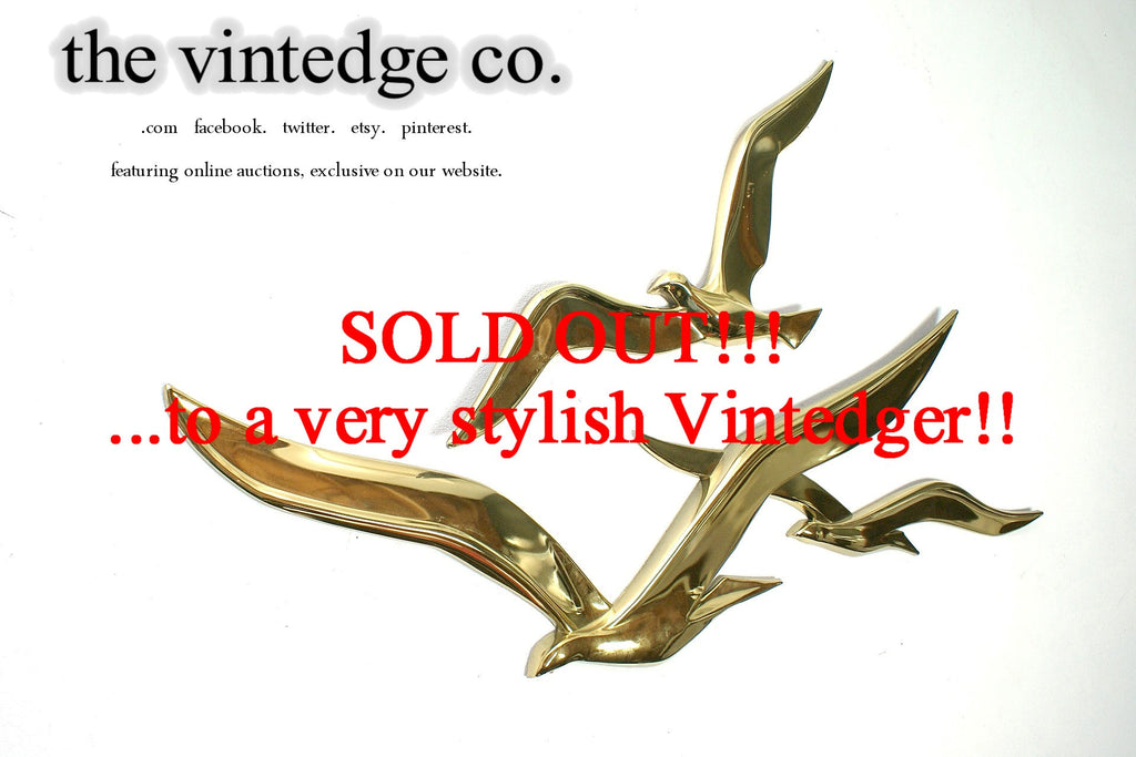 SOLD - MCM 60's Brass Metal Seagulls